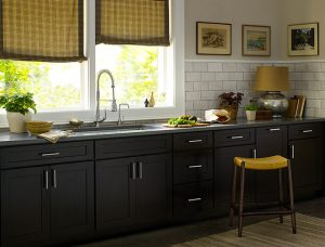 black-kitchen-cabinets-white-island